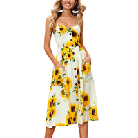 GUMPRUN Stripes Button Sexy Casual Summer Strap Dress Long Boho Beach Desses Pockets Women Sundress Vestidos
