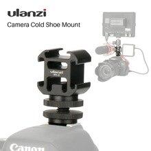 Suporte triplo para câmera led ulanzi, suporte 3 para sapatos e câmeras, com luz de led para dslr, nikon e canon, BY MM1