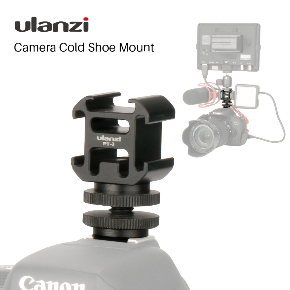 Ulanzi Triple 3 Cold Shoe Mount On Camera Shoe Mount Support BY-MM1 Microphone Video LED Light for DSLR Nikon Canon - ANKUX Tech Co., Ltd