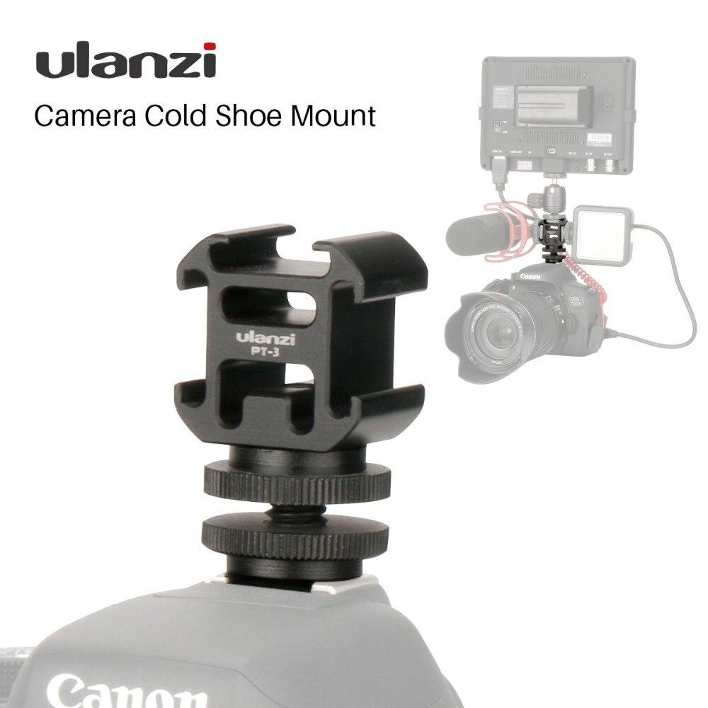 Ulanzi Triplo 3 Frio Sapato de Montagem Em Sapata Da Câmera de Montagem Suporte BY-MM1 Microfone LED Luz de Vídeo para DSLR Nikon Canon