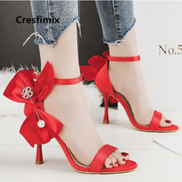 Cresfimix sandalias de mujer women sexy high quality red high heel sandals lady casual party black sandals cool sandals a2621