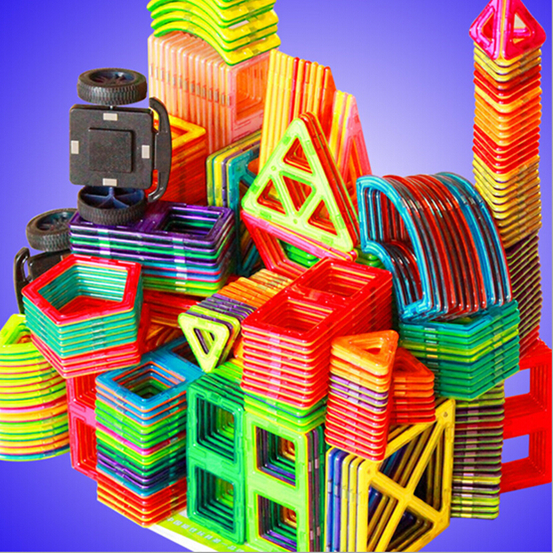 цена на 56PCS DIY Magnetic Brick Multicolor Enlighten Bricks Part Nanoblock Building Blocks Magnetic Base Construction Children Toys