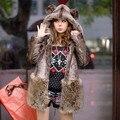 COPT06 Женская Подлинная Искусственного Меха Кролика Куртка с Капюшоном Пальто Пончо Дамы Старинные