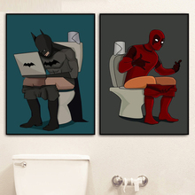 Spiderman Toilet Nordic Poster Bathroom Wall Pictures For Living Room Batman Wall Art Canvas Painting Posters Prints Unframed цена