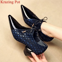 fashion strange style high heels genuine leather pointed toe elegant women pumps brand party print office lady autumn shoes L6f8