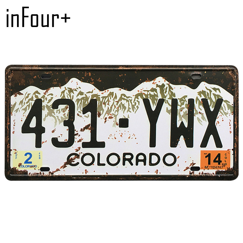 [inFour+] 431.YWX License Plate Metal Plate Car Number Tin Sign Bar Pub Cafe Home Decor Metal Sign Garage Painting Plaques Signs