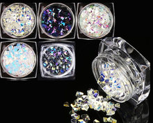Strass Paillettes 1lot =5 Boxes Chameleon AB Color Nail Sequins Colorful Triangle Rhombus Flakies Glitter Nail Art Paillette(China)