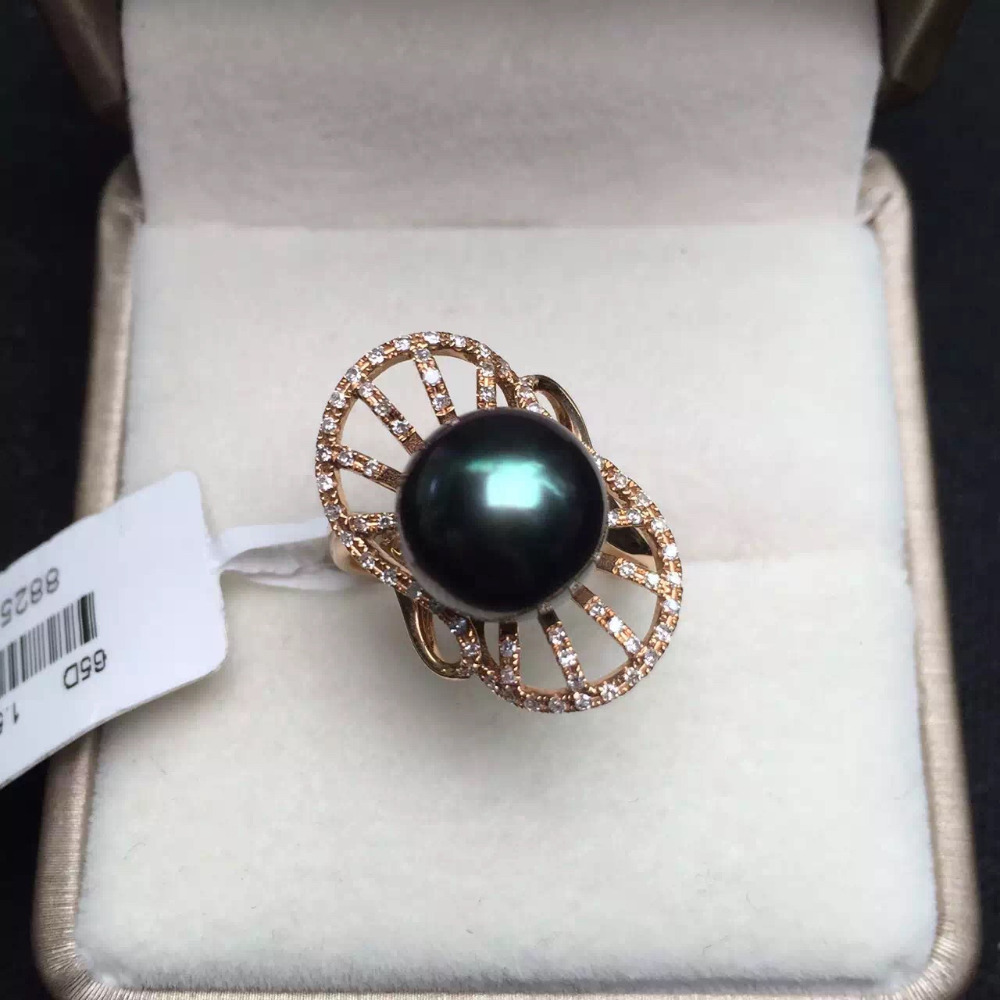 Round 104mm Gold 358g Fine Jewelry 18k Rose Gold Natural Tahiti Black  Pearl Ring