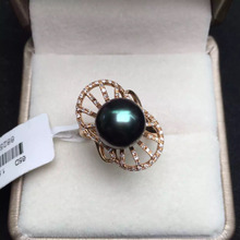 round 10.4mm gold 3.58g fine jewelry 18k rose gold natural Tahiti black pearl ring