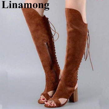 2019 Newest Spring And Summer Flock Cross-tied Open Toe And Square Heel Sansal Fashion Knee-High 5.5CM And 10.5CM Women Sandals