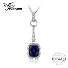 Jewelrypalace elegante rectángulo 2.9ct creado zafiro colgante de plata de ley 925 joyería de la marca para las mujeres sin una cadena