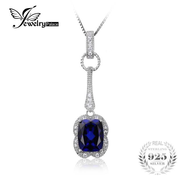 Jewelrypalace elegante retângulo 2.9ct criado sapphire pingente 925 sterling silver marca de jóias para as mulheres sem uma cadeia