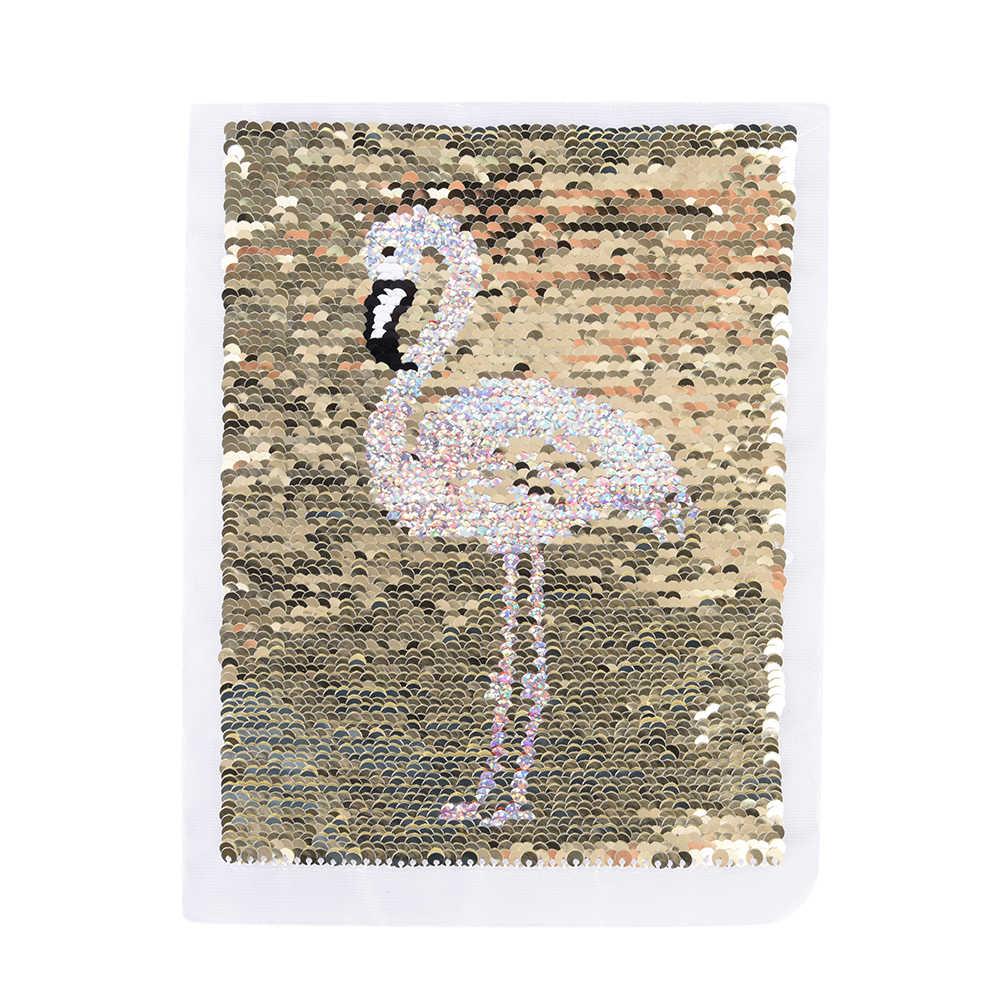 Nuevo flamencos revertible y en distintos colores lentejuelas coser parches para ropa aplique tipo parche para bolso DIY ropa de abrigo suéter artesanía