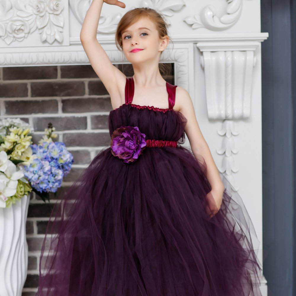 Perfectly Plum Flower Girl Wedding Dress Elegant Shade Of Plum