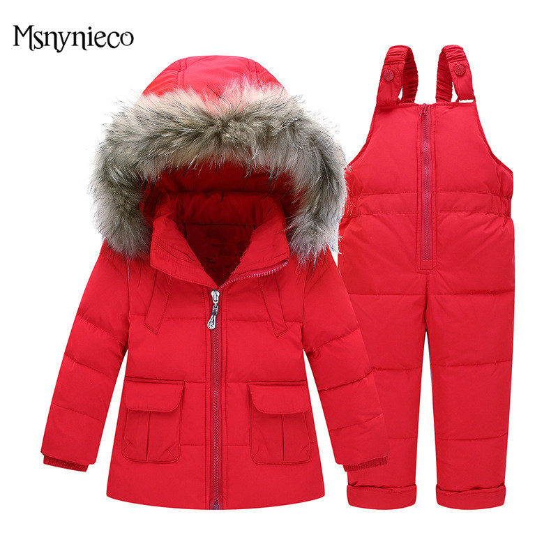 Winter Baby Girl Clothing Sets Kids Down Suits 2017 Fashion Infant Toddler Down Jacket Overalls Warm Outerwear+Jumpsuit Snowsuit 2016 winter boys ski suit set children s snowsuit for baby girl snow overalls ntural fur down jackets trousers clothing sets