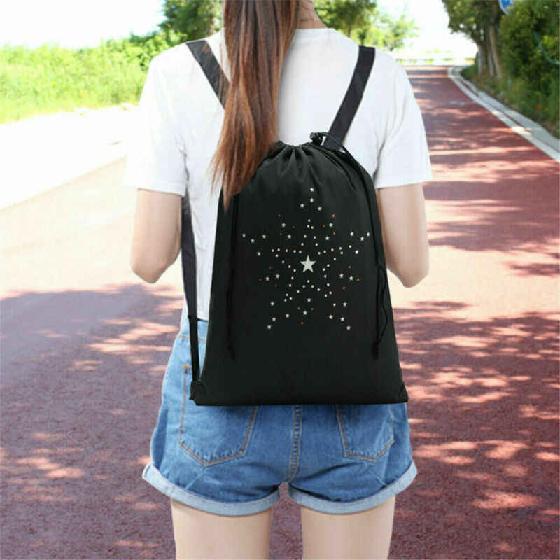 2019 Brand New Black Drawstring Bags Backpack Sports Gym Swim Dance Shoes School Book Bag