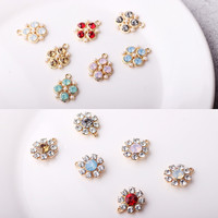 Free Shipping 30PCS Lot Gold Tone Plated Crystal Rhinestone Paved Flowers Charms DIY Jewelry Findings Ornament