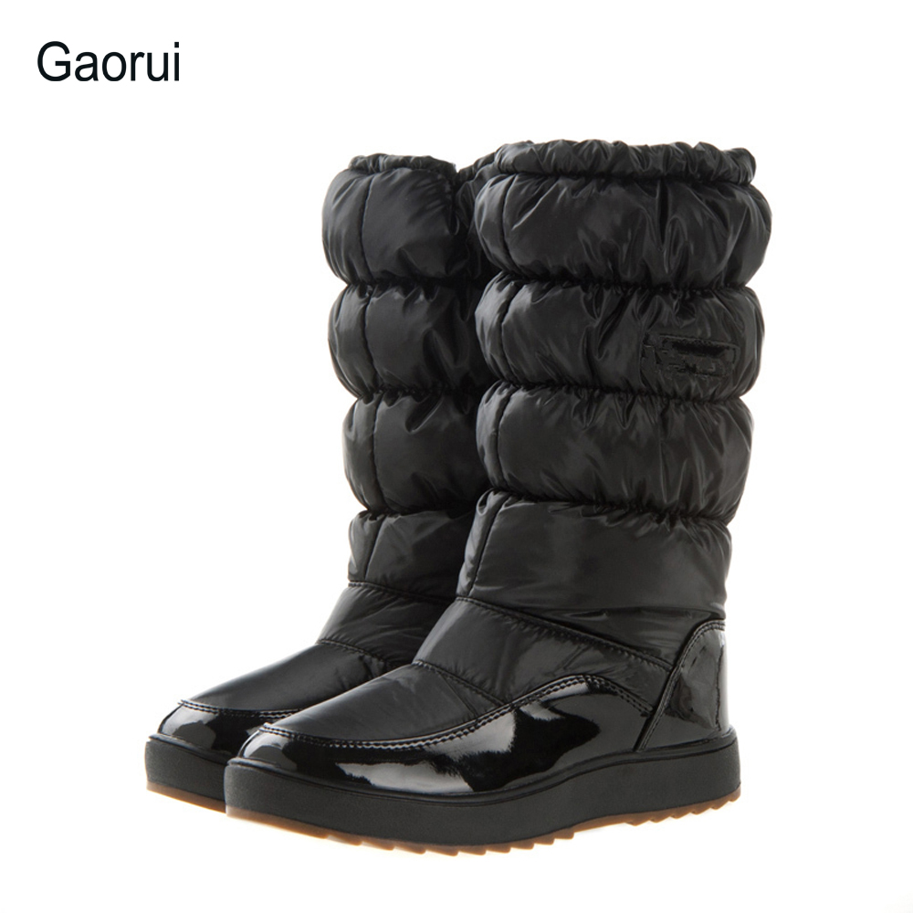 Details about women luxury diamond fashion snow boots rabbit fur boots - Gaorui Women Mid Calf Snow Boots Minus Winter Boots New Brand Waterproof Shoes Woman Snow
