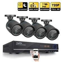 SANNCE HD 1080N 720 P 8CH CCTV Sistema DVR Grabador de Video 4 UNIDS 1200TVL 1.0MP Cámara de Vigilancia IR CCTV kits para el Hogar seguridad