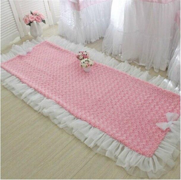 Elegant romantic rose plush floor mat bedroom carpet living room pad ...