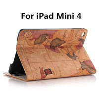 For IPad Mini 4 Case Luxury World Map Magnetic Folio PU Leather Case Cover With Card