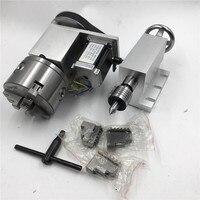 ЧПУ оси вращения 4th оси K11 3Jaw 80 мм токарный патрон Nema23 шаговый двигатель + бабки оси вращения для ЧПУ Токарный Станок