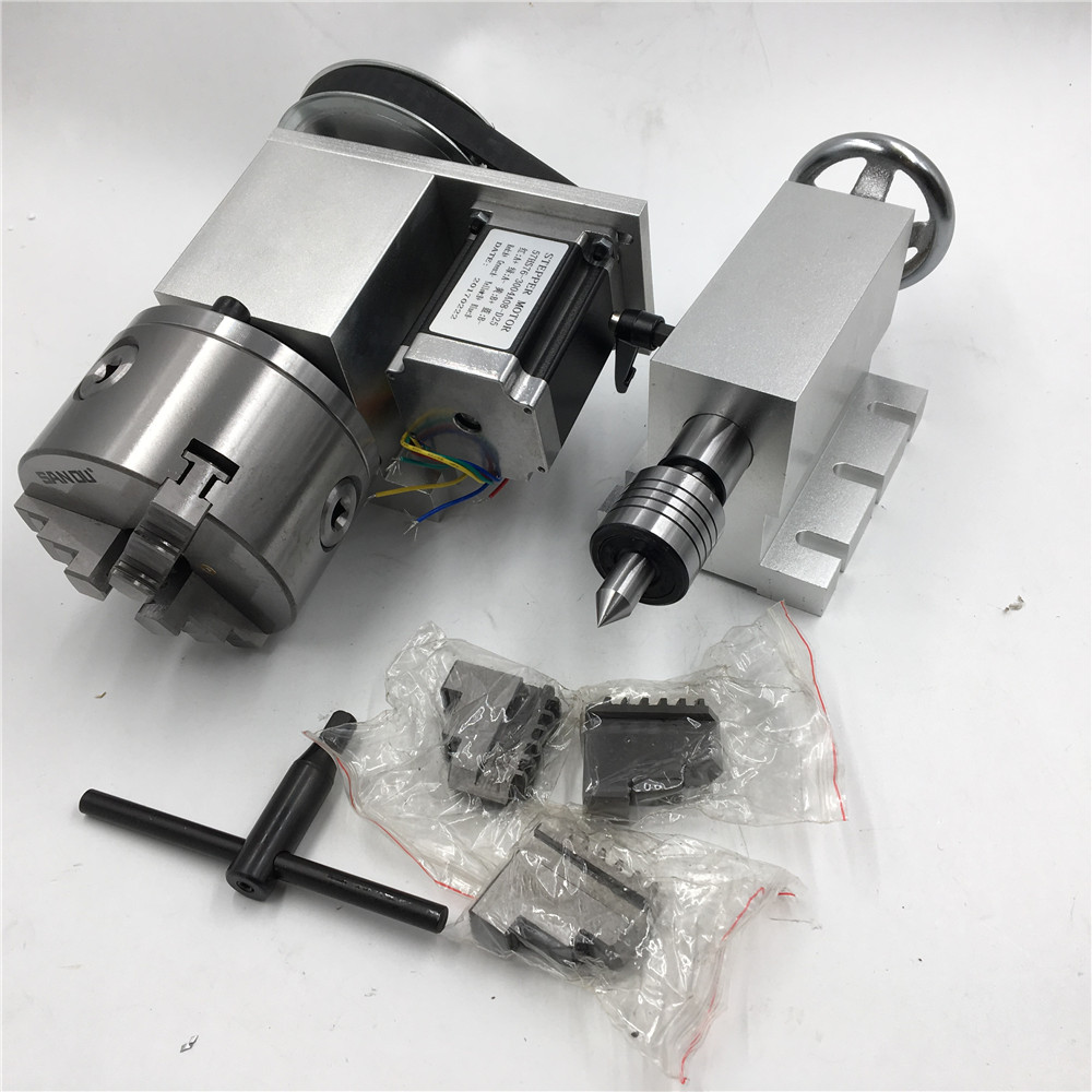 CNC Rotary Axis 4th Axis K11 3Jaw 80mm Lathe Chuck Nema23 Stepper Motor + Tailstock Rotational Axis for CNC Router Metal LatheCNC Rotary Axis 4th Axis K11 3Jaw 80mm Lathe Chuck Nema23 Stepper Motor + Tailstock Rotational Axis for CNC Router Metal Lathe