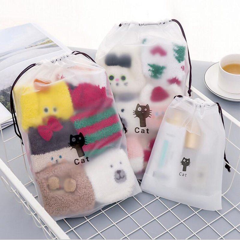 Cartoon Cat Travel Drawstring Makeup Bag Transparent Make Up Beauty Bag Women Handbag Storage Pouch Organizer Bath Wash Kit
