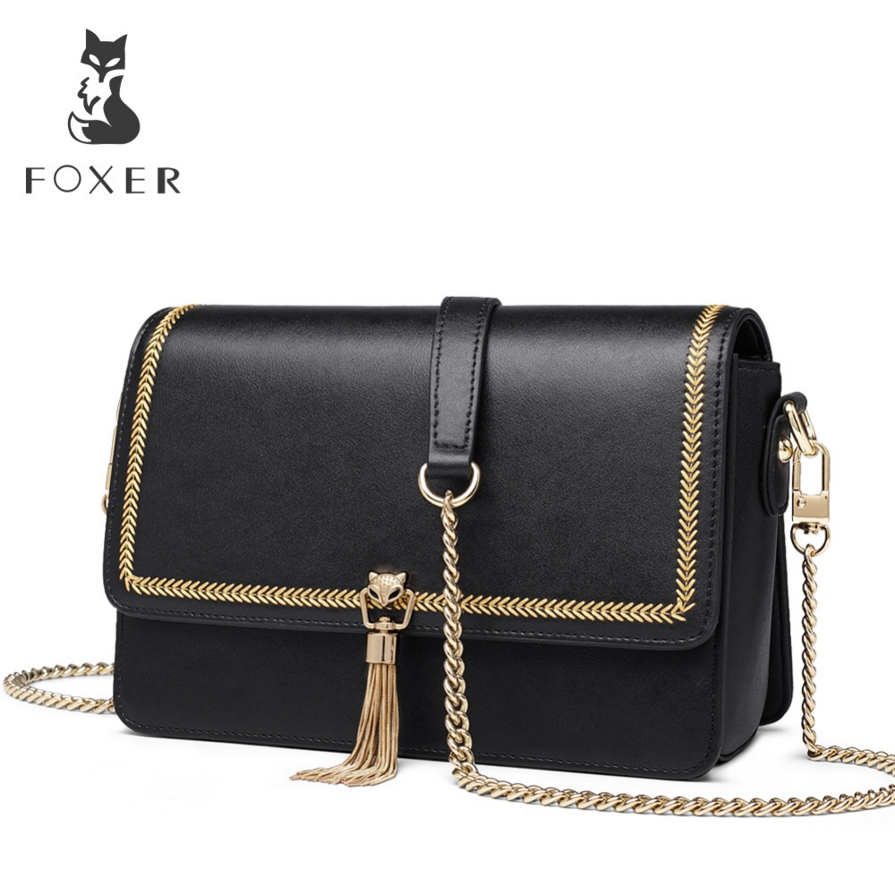FOXER Brand Personality Women Tassel Small Flap Bag Female Little Crossbody Bag Simple Messenger Bags Valentine