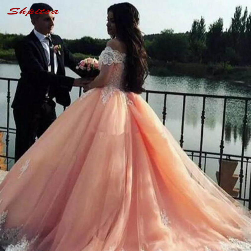 Lace Quinceanera Dresses Ball Gown Off Shoulder Tulle Prom Debutante Sixteen 15 Sweet 16 Dress