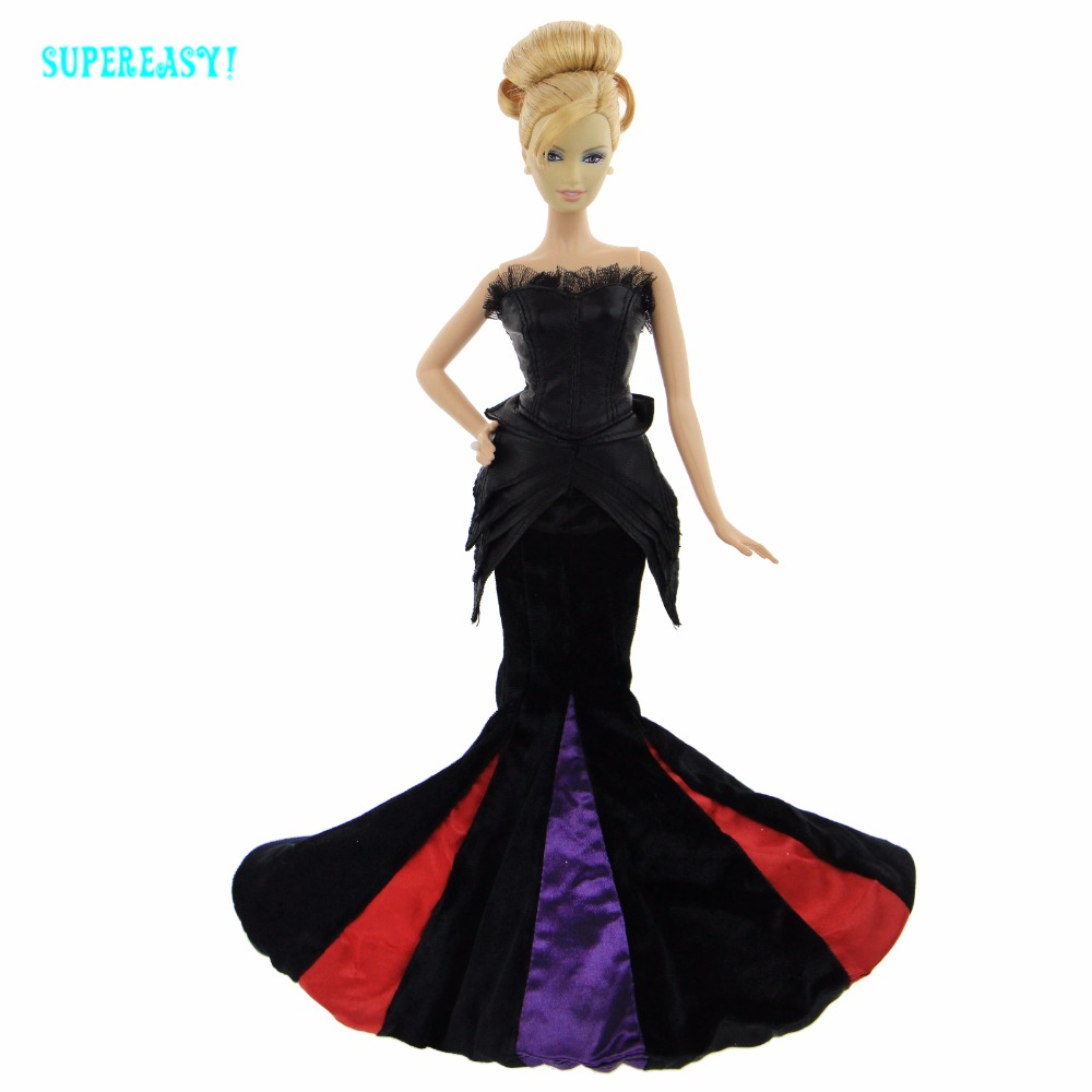 High Quality Black Dress Luxury Wedding Party Gown Lace Strapless Fishtail Skirt Clothes For Barbie Doll Dollhouse Accessories checkered fishtail hem skirt
