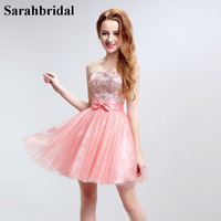2017 New Arrival Sweet Pink Mini A Line Homecoming Dresses Open Back With Crystal Sequins Beading