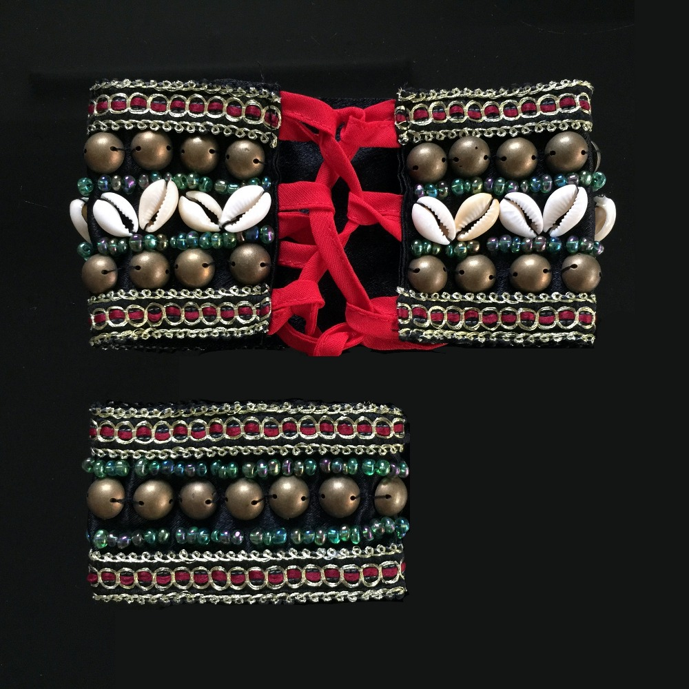 Image 4 - 2019 2 Pieces Set Tribal Belly Dance Costume Accessories Bronze Beads Wristband & Armband Adjustable Fit Gypsy Jewelry Braceletsdance costume accessoriesbelly dance costumestribal belly dance costumes -