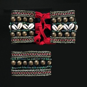 Image 4 - 2019 2 Pieces Set Tribal Belly Dance Costume Accessories Bronze Beads Wristband & Armband Adjustable Fit Gypsy Jewelry Bracelets