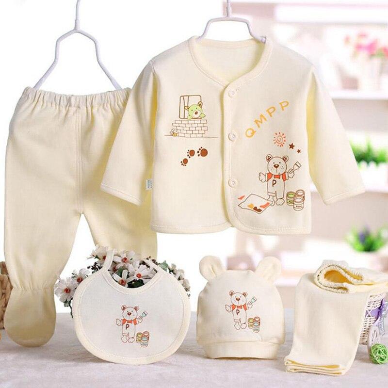 Bib Outfit Clothes 5PCS Newborn Baby Boy Girl Print Long Sleeve Tops+Hat+Pants