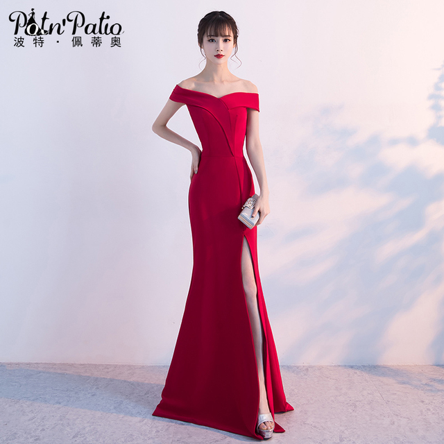 Elegant Boat Neck Wine Red Evening Dresses Long Off The Shoulder