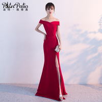 PotN Patio Sexy Boat Neck Slit Mermaid Evening Dresses Red Prom Dresses Long 2017