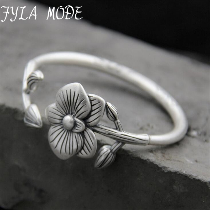 Fyla Mode Fashion 999 Silver Bangles Cuff Flower Bangles & Bracelets Women Accessories 5mm 40.60G TYC104Fyla Mode Fashion 999 Silver Bangles Cuff Flower Bangles & Bracelets Women Accessories 5mm 40.60G TYC104