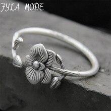 Fyla Mode Fashion 999 Silver Bangles Cuff Flower Bangles & Bracelets Women Accessories 5mm 40.60G TYC104