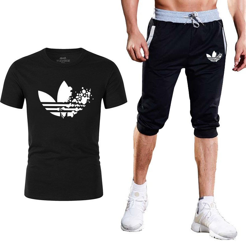 Brand Two Piece Set Men Short Sleeve T Shirt Cropped Top+Shorts Men's Tracksuits 2019 New Causal Sportswear Tops Short Trousers