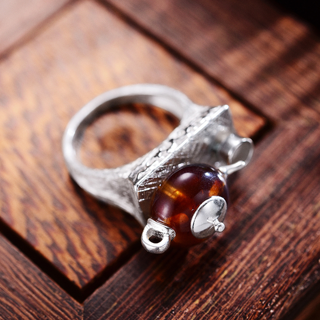 925 Sterling Silver Natural Amber Teapot Ring 2