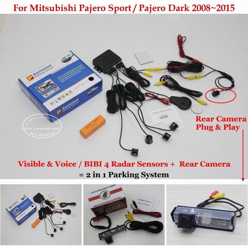 Para mitsubishi pajero sport/dark-sensores de aparcamiento + cámara de visión tr