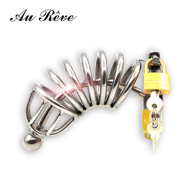 Stainless Steel Chastity Cage Male Chastity Device Locks Metal cage Belt Urethral Tube Bondage Adult Toys For Man Au Reve