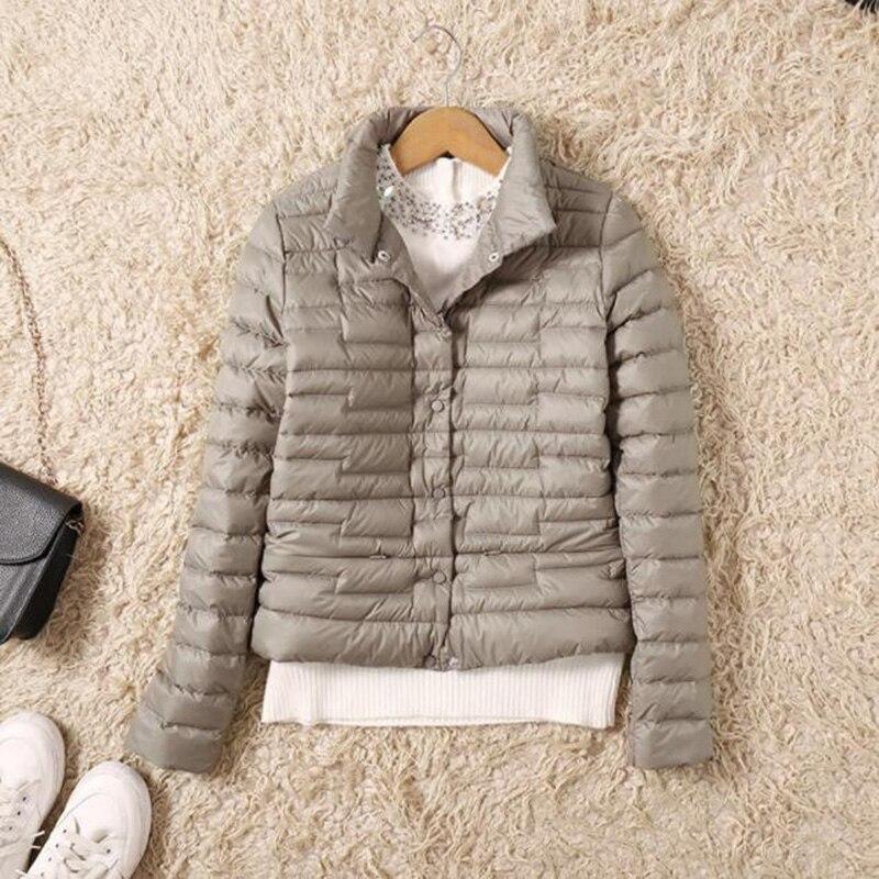 Ultra Light   Down   Jacket Women Winter Short Slim Thin Single-breasted Duck   Down     Coat   Fashion Women Puffer Jacket