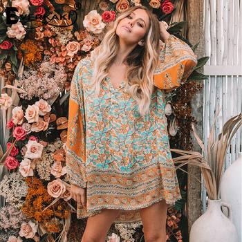 Everkaki Women Boho Gypsy Floral Print Cotton Mini Dress Button O Neck Long Sleeve Loose Bohemian Dress Female 2018 Summer New floral chiffon dress long sleeve