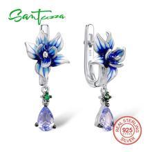 Серебряный Висячие серьги ручной работы эмаль цветок зеленый-шпинелей синие кристаллы чистый 925 серебро женщина Серьги Модные украшения