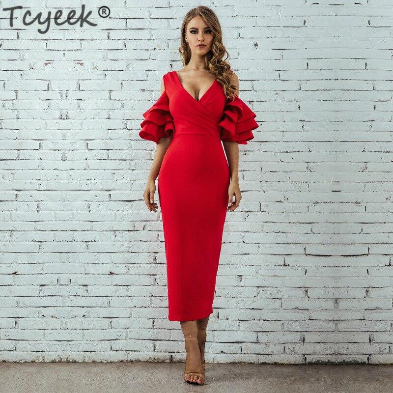 39d47c4f2ed Robes Apricot Long Noir D été Moulante Neck Maxi Blanches pink Lwl1721 red  Élégant Femmes Tcyeek De ...