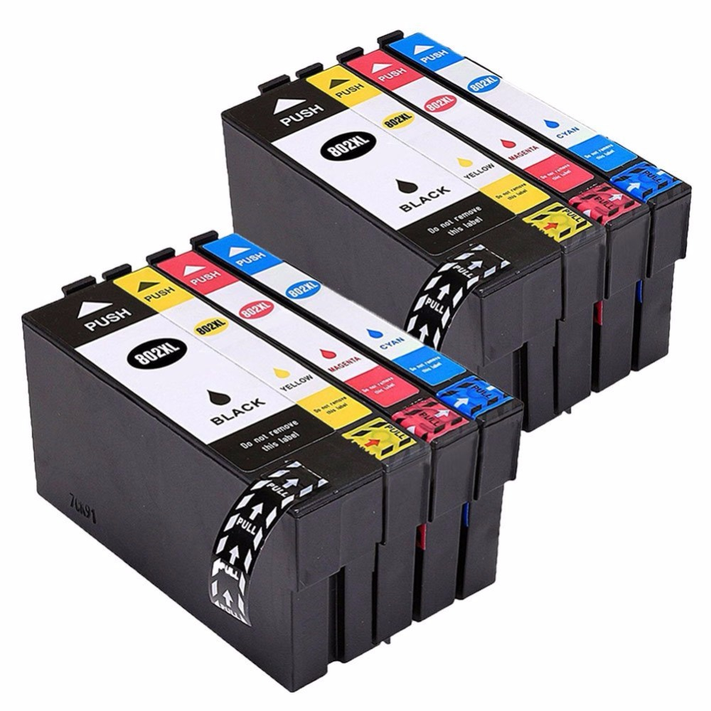 XIMO 8PCS Remanufactured 802 802XL Ink Cartridges Compatible for WorkForce Pro WF 4730 WF 4720 WF