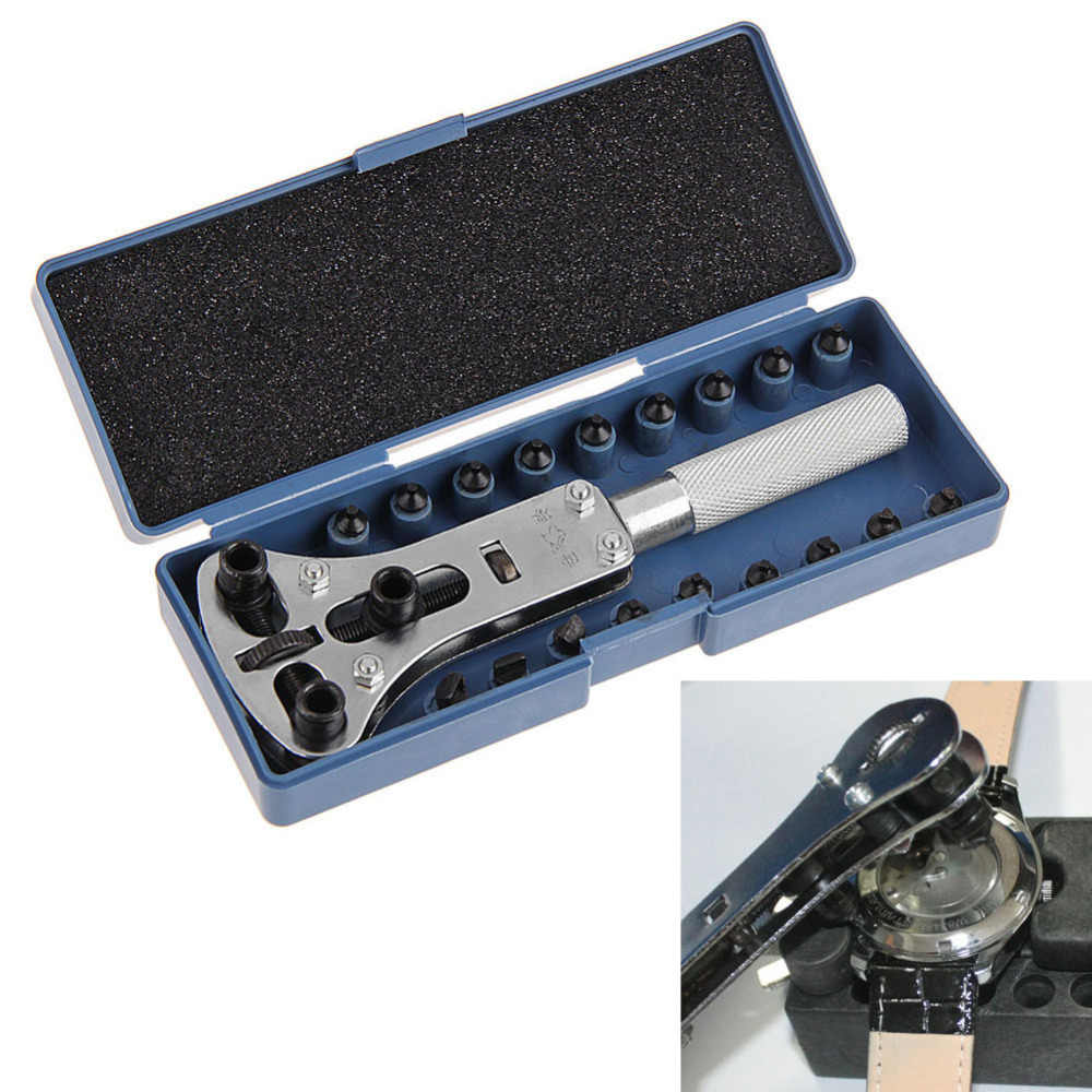 CRV Steel Adjustable Screw Watch Back Case Cover Opener Remover Wrench Repair Tool Kit with 18pcs Replaceable Parts Pins
