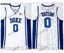 aa9091c15 DUEWEER Mens Throwback Duke Blue Devils 0 Jayson Tatum College Basketball  Jersey Stitched White Jayson Tatum